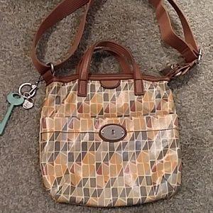 Fossil Key-Per coated canvas crossbody purse